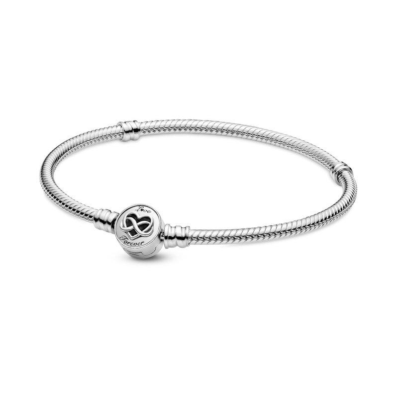 "Pandora Moments Heart Infinity Clasp Snake Chain Bracelet, 7.9"""
