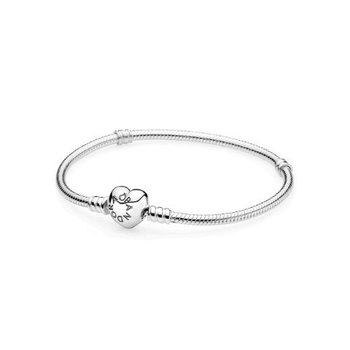 "Moments Heart Clasp Snake Chain Bracelet, 7.5"""