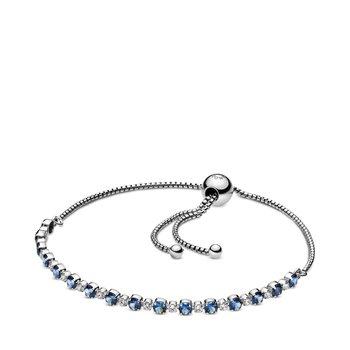 """Blue & Clear Sparkle Slider Bracelet, 9.8"""" - FINAL SALE"""