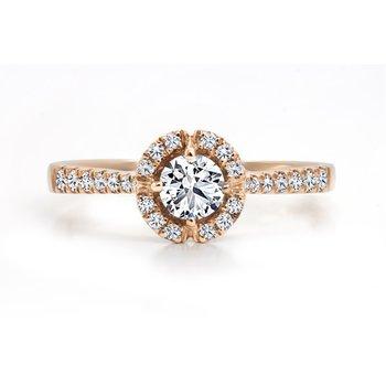 14K Halo Engagement Ring, 0.48 TDW