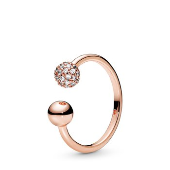 Polished & Pavé Bead Open Ring, size 7.0