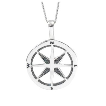 10K 'Compass' Black Diamond Pendant, 0.02 TCW