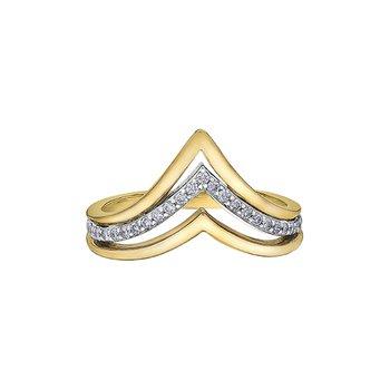 10k Diamond Chevron Ring