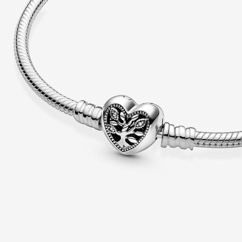 """Pandora Family Tree Heart Clasp Bracelet, 7.9"""""""