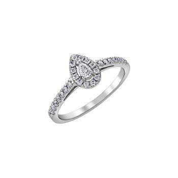 10K Pear Halo Engagement Ring, 0.33 TDW