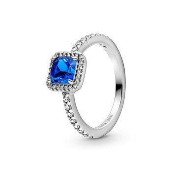 Blue Square Sparkle Halo Ring, size 6.0
