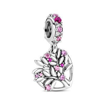Pink Heart Family Tree Dangle Charm