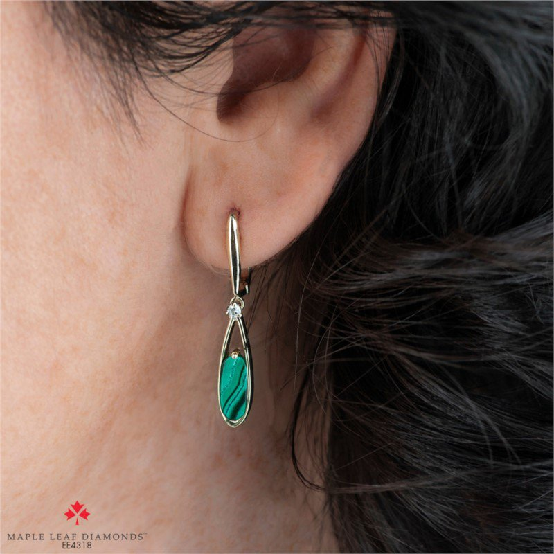Maple Leaf Diamonds 10K Malachite & Diamond Earrings