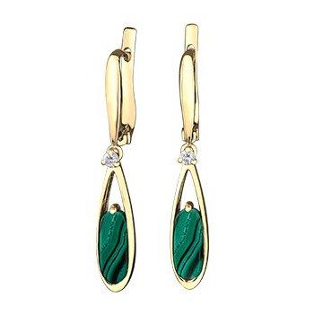 10K Malachite & Diamond Earrings
