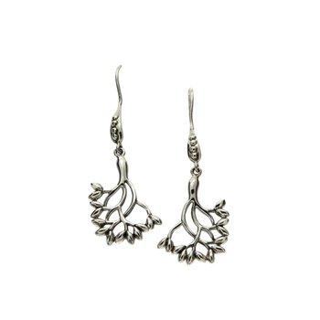 'Tree of Life' Sterling Silver Shepherd's Hook Earrings