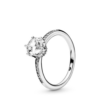 Clear Sparkling Crown Solitaire Ring, size 7.5