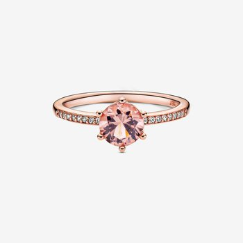Pink Sparkling Crown Solitaire Ring, size 7.0