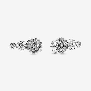 Sparkling Daisy Flower Trio Earrings
