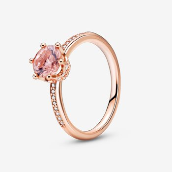 Pink Sparkling Crown Solitaire Ring, size 7.5