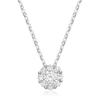 14k Diamond Cluster Pendant, 0.23 TDW
