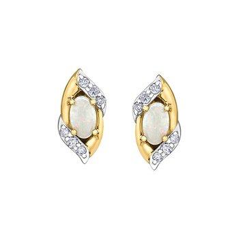 10K Opal & Diamond Earrings