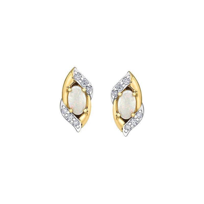 Diamond Days 10K Opal & Diamond Earrings