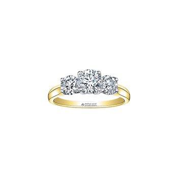 14k 3 Stone Engagement Ring, 0.75 TDW