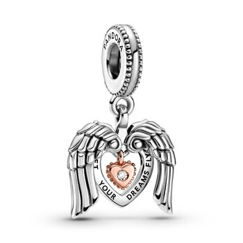 Club 2021 Angel Wings & Heart Dangle Charm, LIMITED EDITION