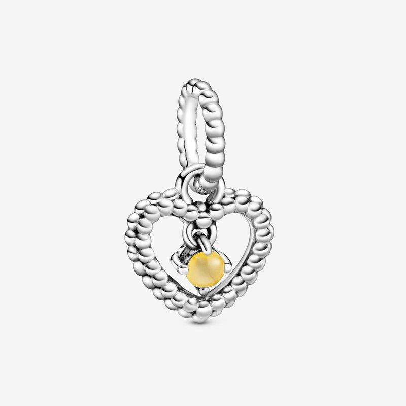 Pandora November Honey Beaded Heart Dangle Charm