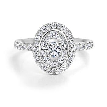 14K Double Halo Engagement Ring, 0.81 TDW