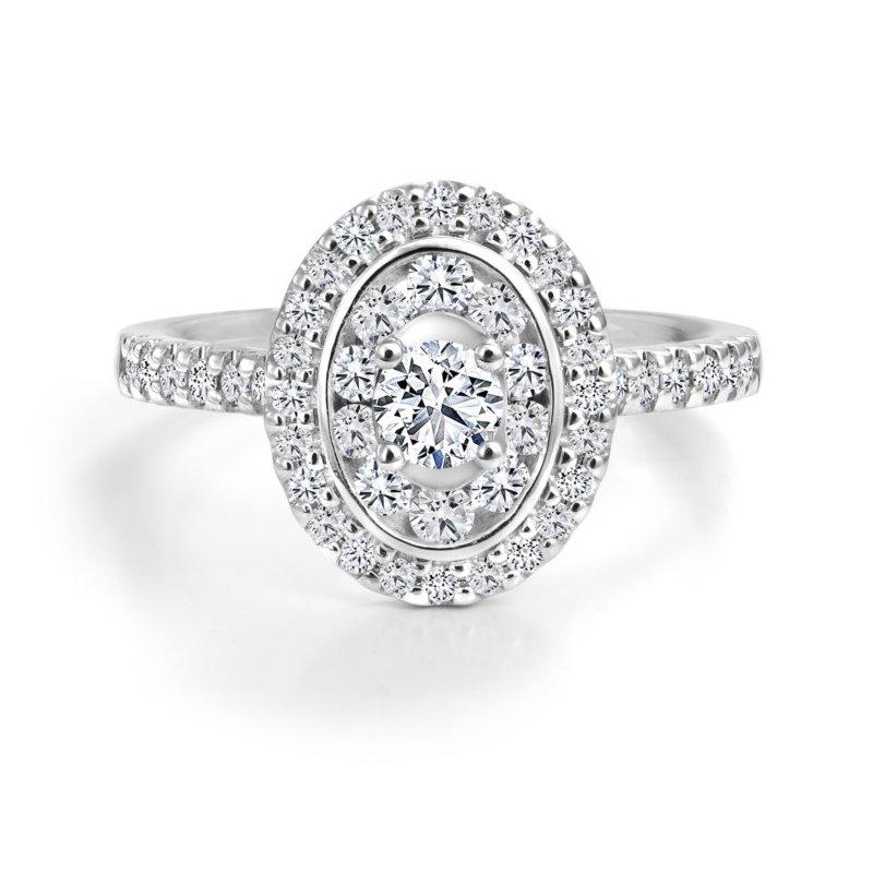 Canadian Rocks 14K Double Halo Engagement Ring, 0.81 TDW