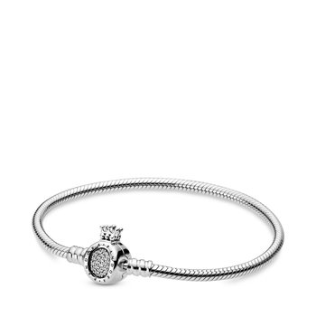 """Moments Crown O Clasp Snake Chain Bracelet, 7.5"""""""