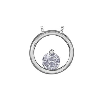 10K Diamond Circle Pendant, 0.08 TDW