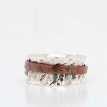 Sterling Silver & Copper Spinnner Ring