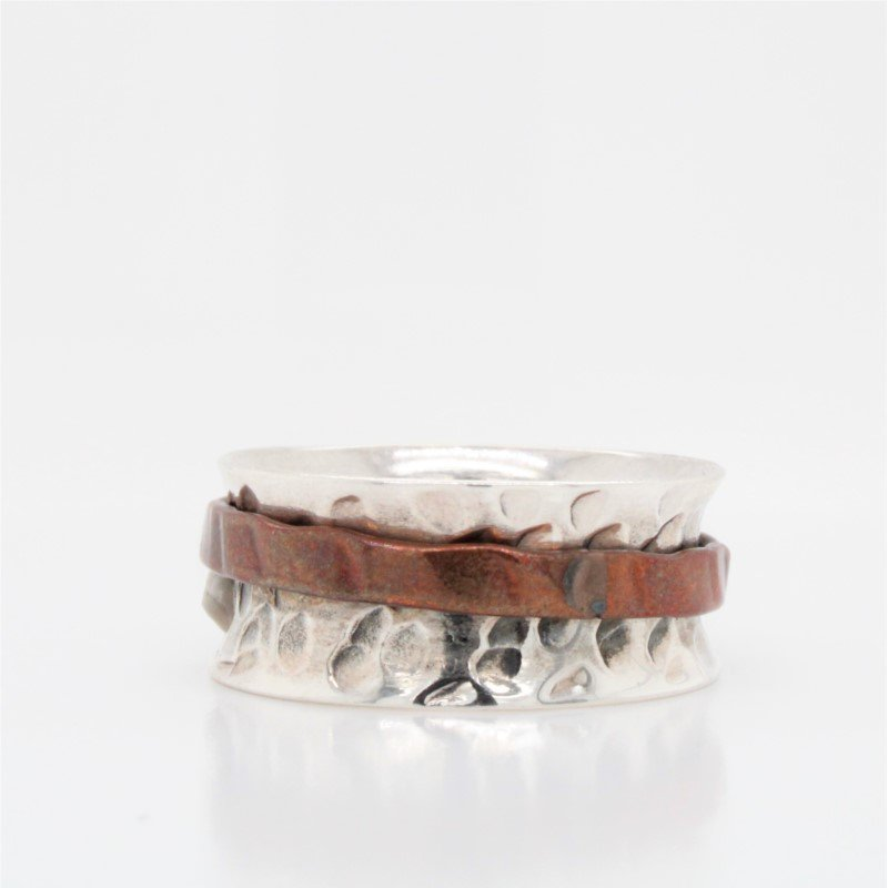 GNM Jewellery Collection Sterling Silver & Copper Spinnner Ring