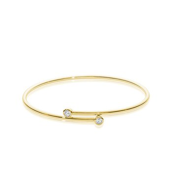"14KT Yellow Gold Diamond Bangle Bracelet 0.24TDW, 6.5"""