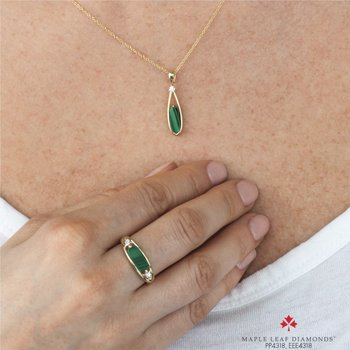 10K Malachite & Diamond Ring