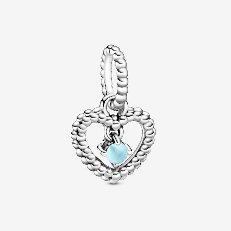 Pandora December Sky Blue Beaded Heart Dangle Charm