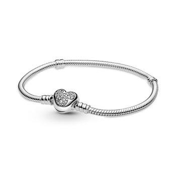 "Disney Moments Mickey Mouse Heart Clasp Snake Chain Bracelet, 7.1"""