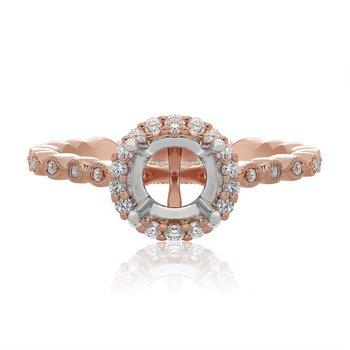 14K Halo Engagement Ring Mount