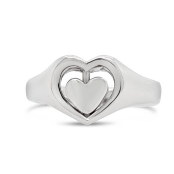 Sterling Silver Spinning Heart Ring