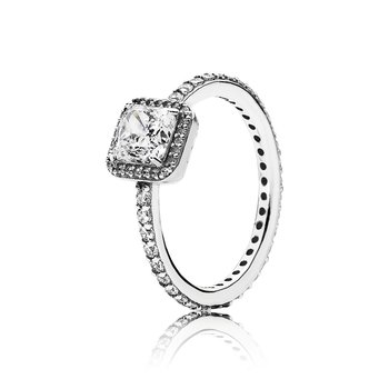 Square Sparkle Halo Ring, size 7.5