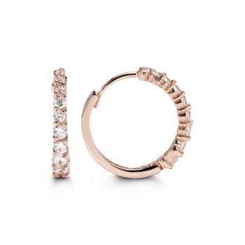 10k Rose Gold CZ Huggie Earrings