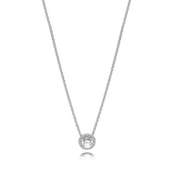 "Round Sparkle Halo Necklace, 17.7"""