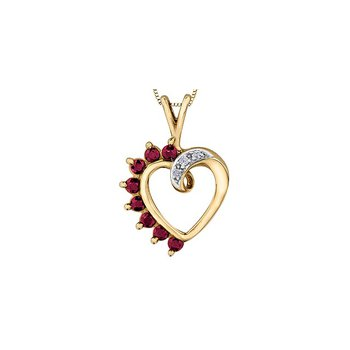 10K Ruby Heart Pendant