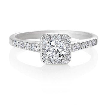 14K Ideal Square Cut Diamond Engagement Ring, 0.50 TDW