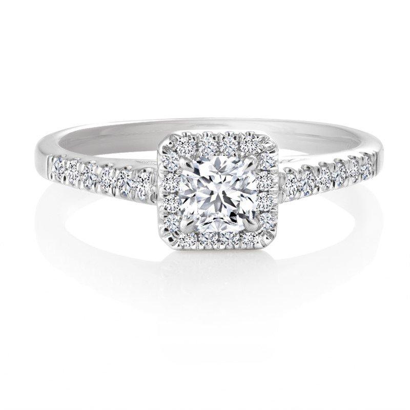 Canadian Rocks 14K Ideal Square Cut Diamond Engagement Ring, 0.50 TDW