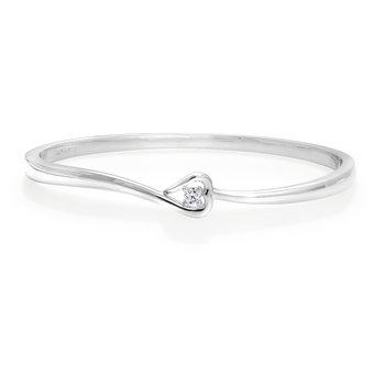 Silver & Diamond Bangle