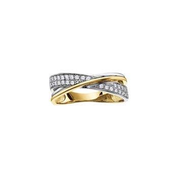 10K Criss Cross Diamond Ring, 0.19 TDW