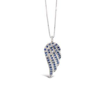 14k Angel Wing Blue Sapphire Pendant