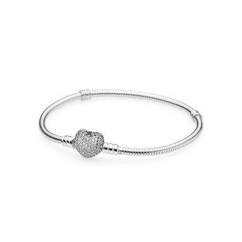 "Moments Sparkling Heart Clasp Snake Chain Bracelet, 7.1"""