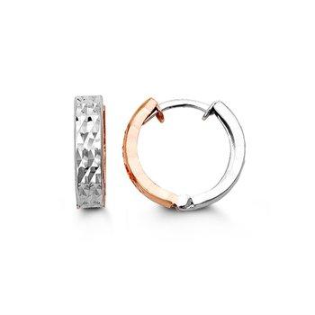 10K Two Tone Diamond Cut Huggie Hoops