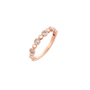 10k Rose Gold Band with White Topaz Stones