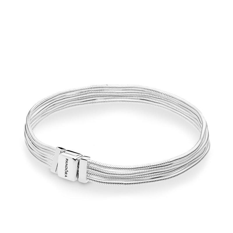 "Pandora Reflexions Sterling Silver Multi Strand Bracelet, 6.3"""