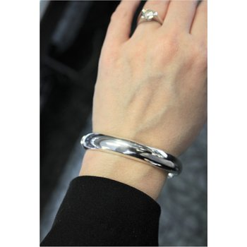 Wide Oval Sterling Silver Bangle